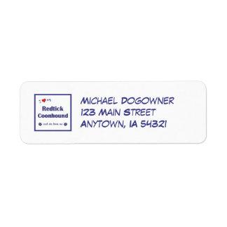 I Love My Redtick Coonhound (Female Dog) Custom Return Address Labels