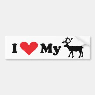 I Love My Reindeer bumper sticker