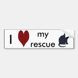 """""""I Love My Rescue Cat"""" Bumper Sticker"""