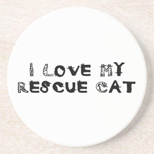 I Love My Rescue Cat Coaster