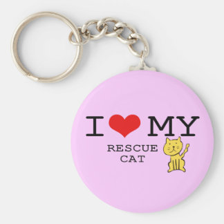 I Love My Rescue Cat Keychain