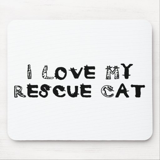 I Love My Rescue Cat Mouse Pad