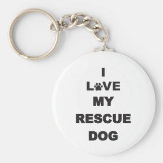I Love My Rescue Dog Keychain