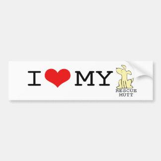 I Love My Rescue Mutt Bumper Sticker