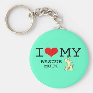 I Love My Rescue Mutt Keychain