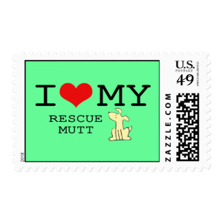I Love My Rescue Mutt Postage Stamp