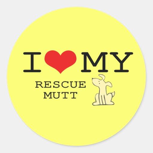 I Love My Rescue Mutt Sticker