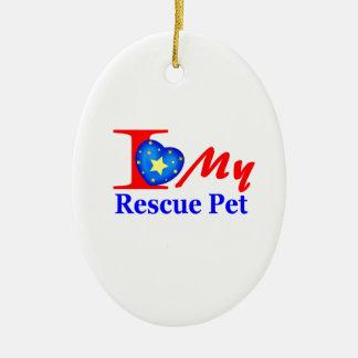 "I Love My Rescue Pet ""Heroes4Rescue"" Ceramic Ornament"