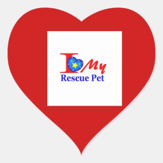 "I Love My Rescue Pet ""Heroes4Rescue"" Heart Sticker"