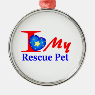 """I Love My Rescue Pet """"Heroes4Rescue"""" Metal Ornament"""
