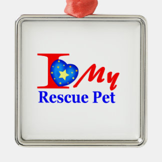 "I Love My Rescue Pet ""Heroes4Rescue"" Christmas Ornaments"