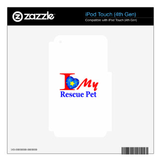 "I Love My Rescue Pet ""Heroes4Rescue"" Skin For iPod Touch 4G"