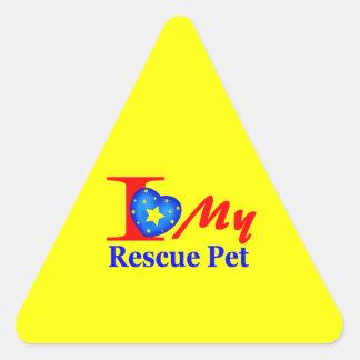 "I Love My Rescue Pet ""Heroes4Rescue"" Triangle Sticker"
