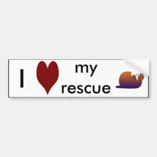 """""""I love my rescue snail"""" Bumper Sticker"""