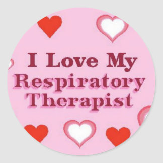 I Love My Respiratory Therapist Classic Round Sticker