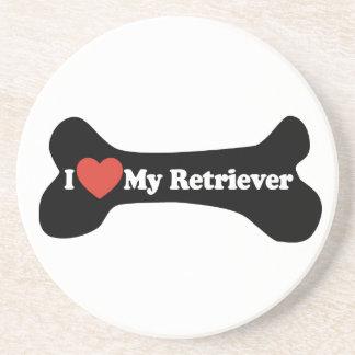 I Love My Retriever - Dog Bone Beverage Coaster