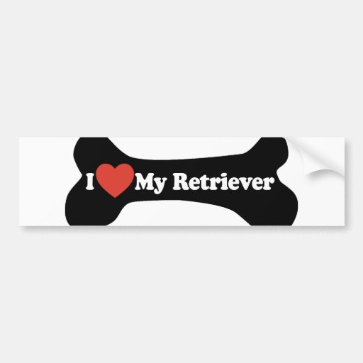 I Love My Retriever - Dog Bone Bumper Stickers