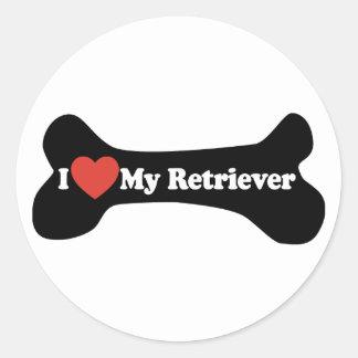 I Love My Retriever - Dog Bone Classic Round Sticker