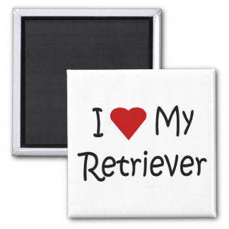 I Love My Retriever Dog Breed Lover Gifts 2 Inch Square Magnet