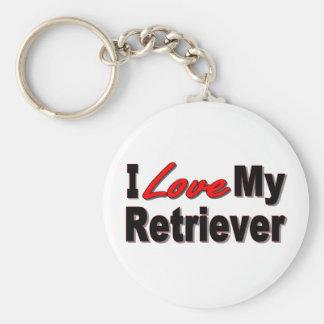 I Love My Retriever Dog Keychain