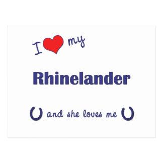 I Love My Rhinelander (Female Horse) Postcard
