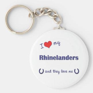 I Love My Rhinelanders (Multiple Horses) Basic Round Button Keychain