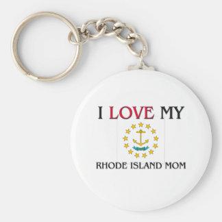 I Love My Rhode Island Mom Basic Round Button Keychain
