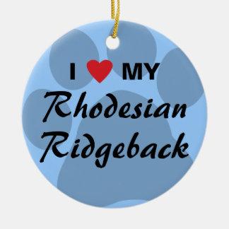 I Love My Rhodesian Ridgeback Ceramic Ornament