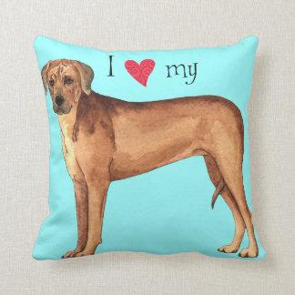 I Love my Rhodesian Ridgeback Throw Pillow