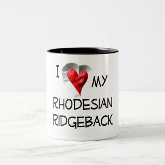 I Love My Rhodesian Ridgeback Two-Tone Coffee Mug