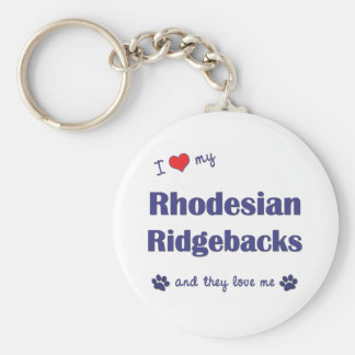 I Love My Rhodesian Ridgebacks (Multiple Dogs) Keychain