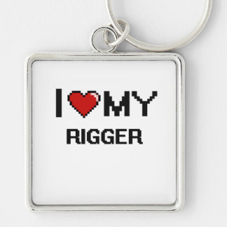 I love my Rigger Silver-Colored Square Keychain