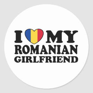I Love My Romanian girlfriend Round Stickers