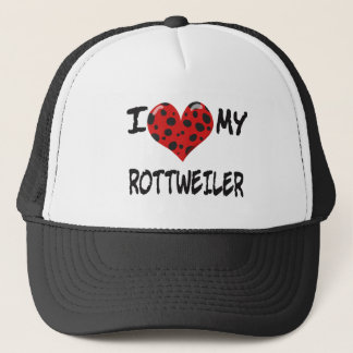 I LOVE MY ROTT WEILER TRUCKER HAT