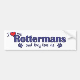I Love My Rottermans (Multiple Dogs) Bumper Sticker