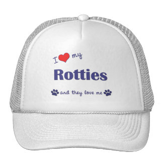 I Love My Rotties Multiple Dogs Hat