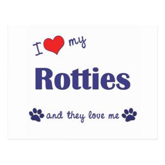I Love My Rotties (Multiple Dogs) Postcard