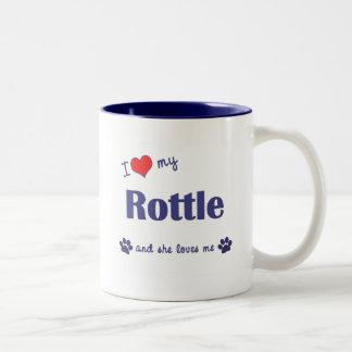 I Love My Rottle (Female Dog) Two-Tone Coffee Mug