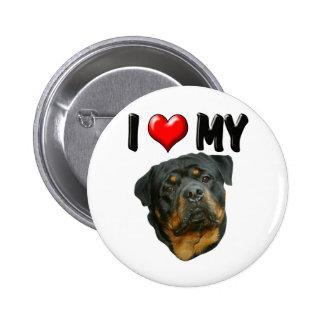 I Love My Rottweiler 2 2 Inch Round Button