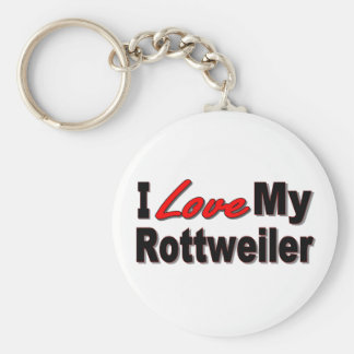 I Love My Rottweiler Dog Keychain