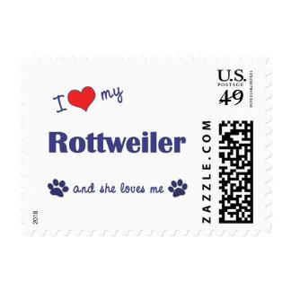 I Love My Rottweiler (Female Dog) Postage Stamp