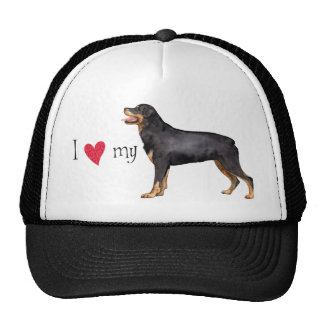 I Love my Rottweiler Hats