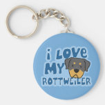 I Love My Rottweiler Keychain