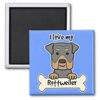 I Love My Rottweiler 2 Inch Square Magnet