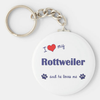 I Love My Rottweiler Male Dog Keychains