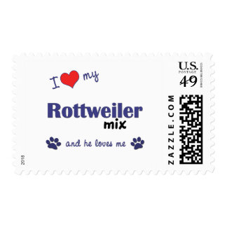I Love My Rottweiler Mix (Male Dog) Postage Stamp