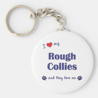 I Love My Rough Collies (Multiple Dogs) Keychain