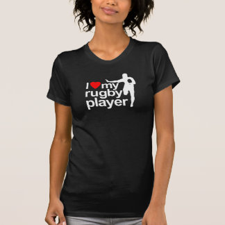 I Love My Rugby Player Black Tees