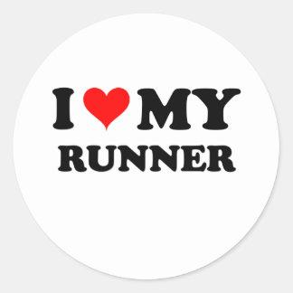 I Love My Runner Round Sticker