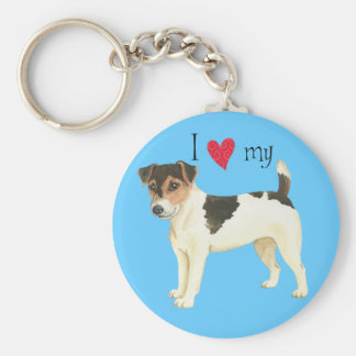 I Love my Russell Terrier Basic Round Button Keychain